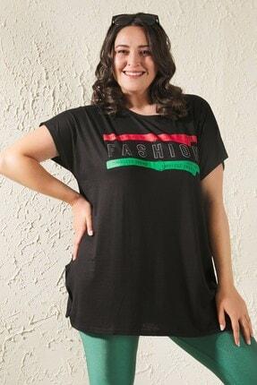 Siyezen Kadın Siyah Büyük Beden Salaş Fashion Baskılı T-shirt 3