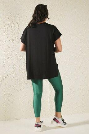 Siyezen Kadın Siyah Büyük Beden Salaş Fashion Baskılı T-shirt 4