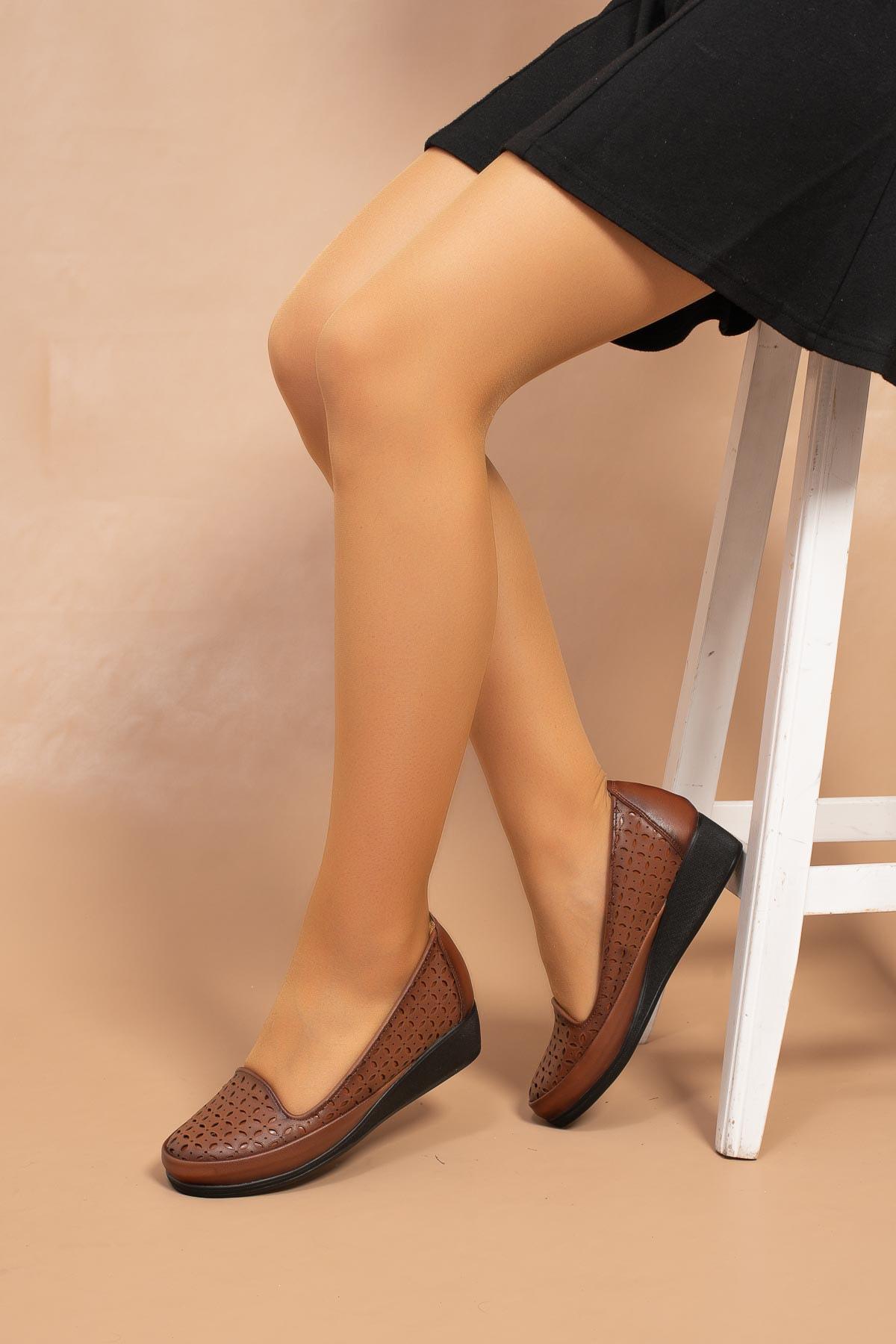 Kadın Taba Lazer Desenli Genç Anne Comfort Hafif Poli Taban Ayakkabı