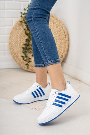 Moda Değirmeni Kadın Beyaz Mavi Sneaker Md1053-101-0002 1