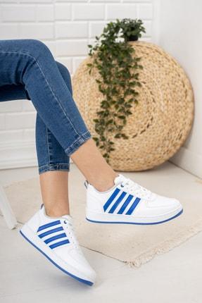 Moda Değirmeni Kadın Beyaz Mavi Sneaker Md1053-101-0002 2