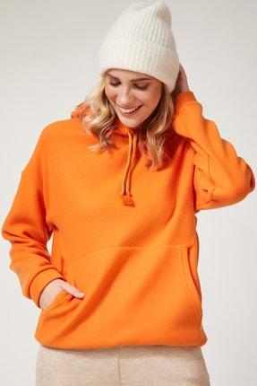 Happiness İst. Kadın Oranj Kapüşonlu Kışlık Polar Sweatshirt ZV00047 1