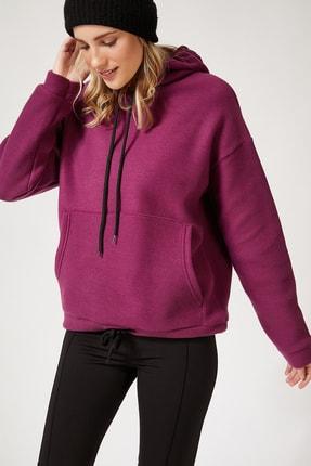 Happiness İst. Kadın Mor Kapüşonlu Kışlık Polar Sweatshirt ZV00047 1