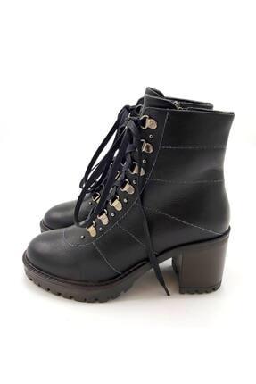 CassidoShoes Kadın Siyah Hakiki Deri Fermuarlı Bağcıklı Topuklu Bot 1