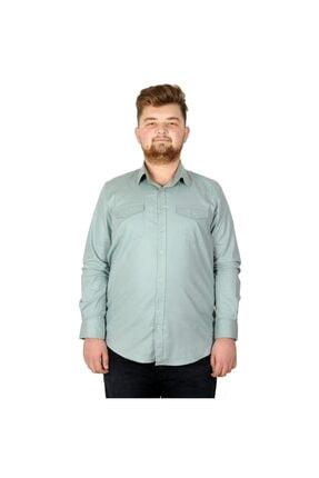Picture of Büyük Beden Erkek Gömlek Gabardin 20360 Su Yeşili