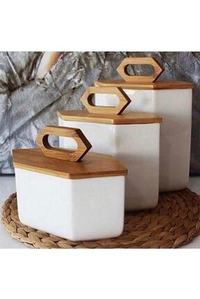 Kosova Bambu Kapakli Porselen Altigen Kavanoz Seti 0