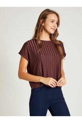 Vekem Kadın Kahverengi Sıfır Yaka Japone Kol Bluz 1