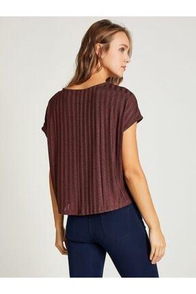 Vekem Kadın Kahverengi Sıfır Yaka Japone Kol Bluz 2