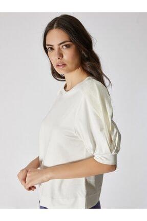 Vekem Kadın Kırık Beyaz Şifon Kol Detaylı Pamuklu Bluz 9107-0074 2