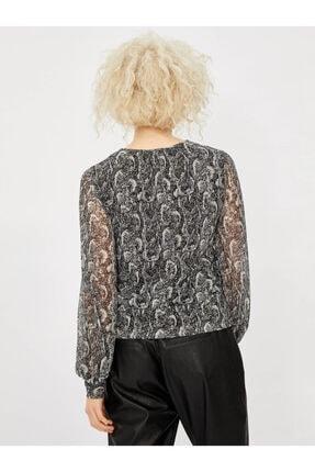 Vekem Kadın Gri Desenli Sıfır Yaka Uzun Kol Bluz 9107-0047 1