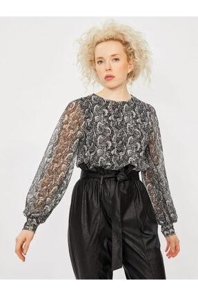 Vekem Kadın Gri Desenli Sıfır Yaka Uzun Kol Bluz 9107-0047 2