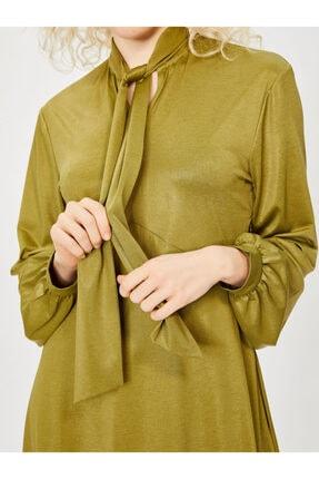 Vekem Kadın Yeşil Yakası Bağlamalı Uzun Kol Midi Elbise 4