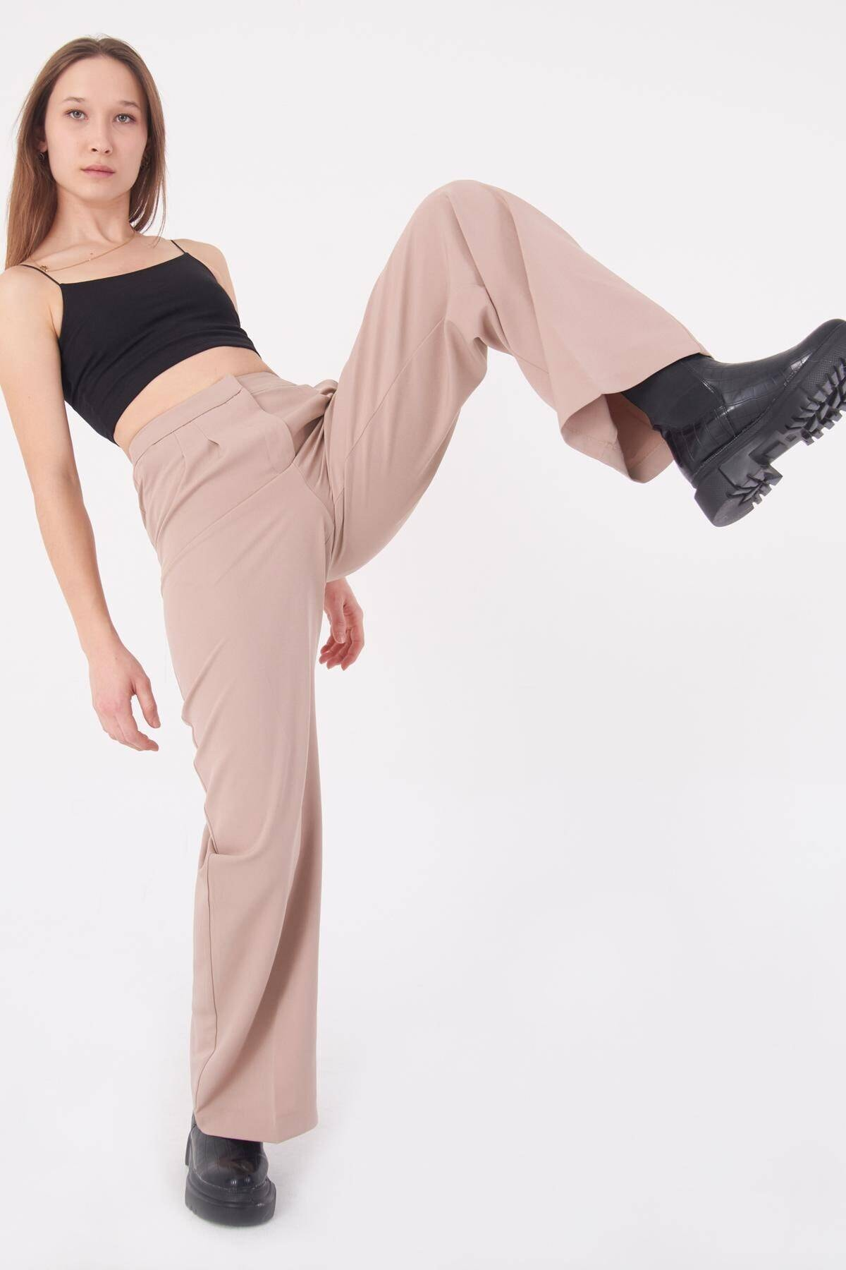 Addax Kadın Bej Cep Detaylı Bol Pantolon PN8058 - E8 ADX-0000023058 0