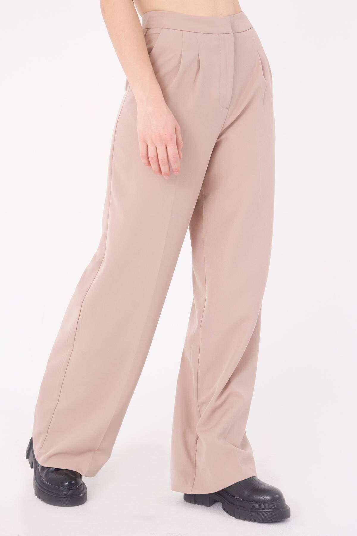 Addax Kadın Bej Cep Detaylı Bol Pantolon PN8058 - E8 ADX-0000023058 3