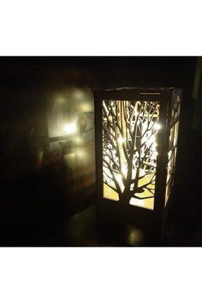 DDTREND Dekoratif Ahşap Abajur Masa Süsü Pilli Peri Led Lamba Hediye Kutu Kedi , Ağaç Desenli 20-10cm 0