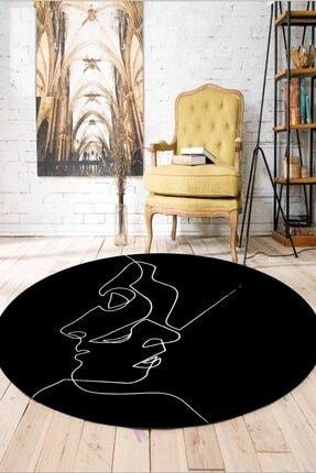 WOOLLY HOME COLLECTİON Siyah Beyaz Çizgili Byn Desen Yuvarlak Halı (makinede Yıkanabilir Kaymaz Deri Taban -w575) 1