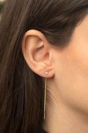 Gelin Pırlanta Kadın Altın Gelin Diamond 14 Ayar Tek Taşlı Sallantılı Küpe 1