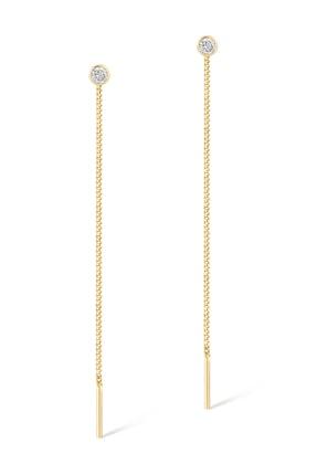 Gelin Pırlanta Kadın Altın Gelin Diamond 14 Ayar Tek Taşlı Sallantılı Küpe 2
