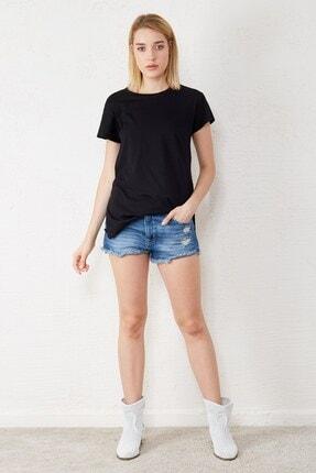Eka Kadın Siyah Bisiklet Yaka Kısa Kol T-shirt 4
