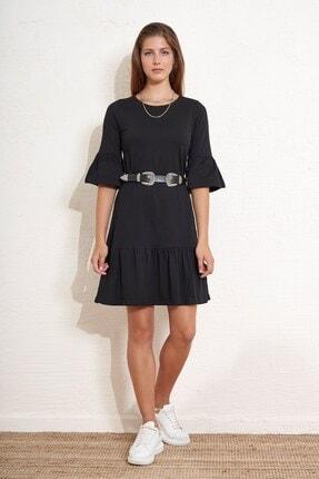 Eka Kadın Eteği ve Kolları Volanlı Salaş Elbise 0