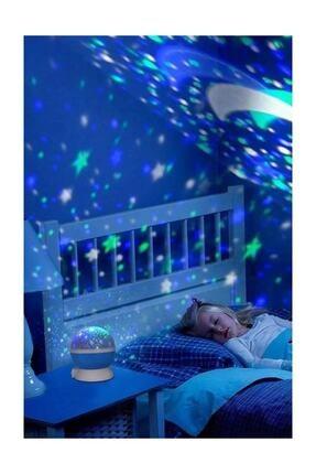 HediyeFilesi Dönen Projeksiyon Gece Lambası Star Master Ay Yıldız Led - Mavi 0