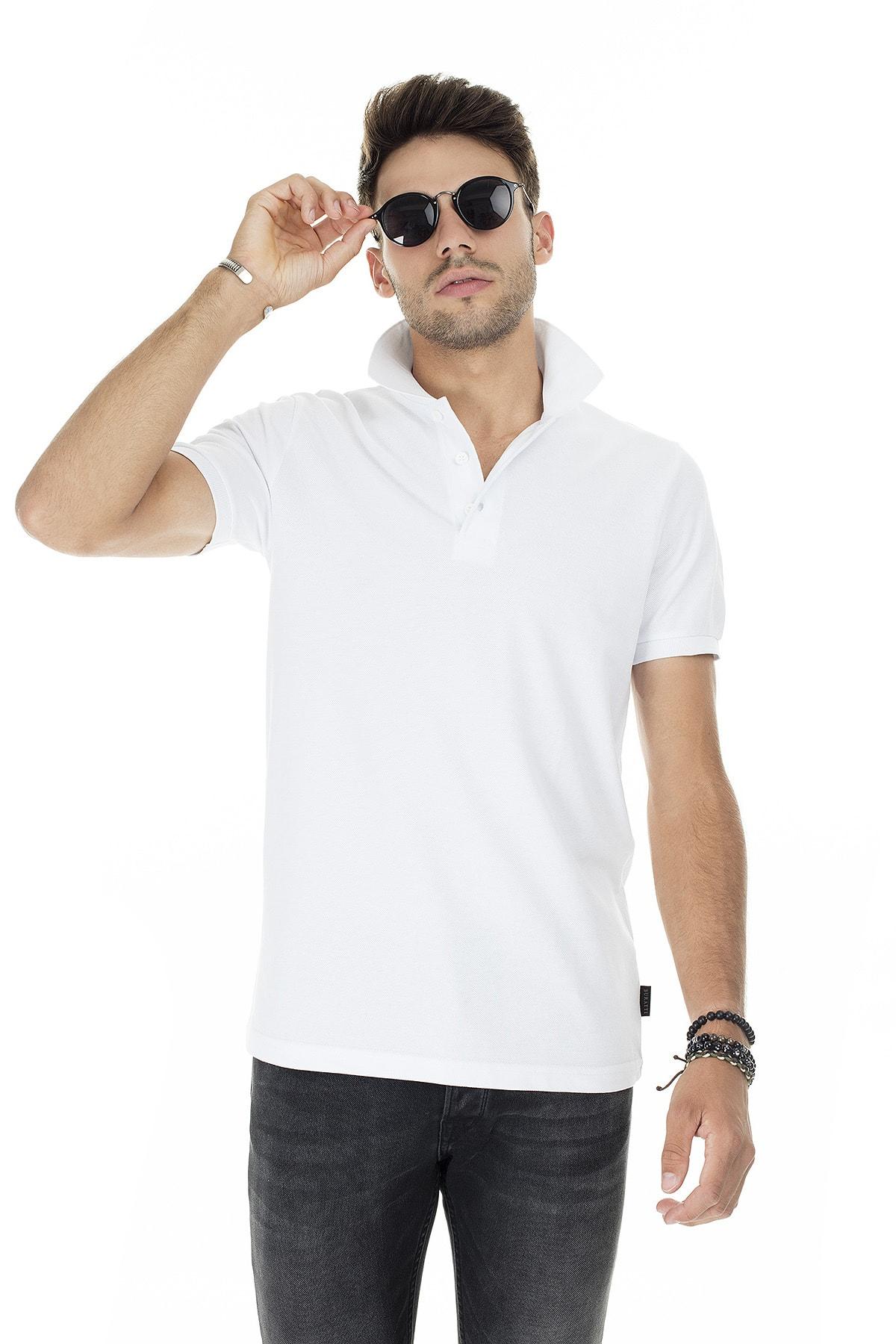 Buratti Erkek Beyaz Düğmeli Polo Yaka Pamuklu Günlük T Shirt 4362050 0
