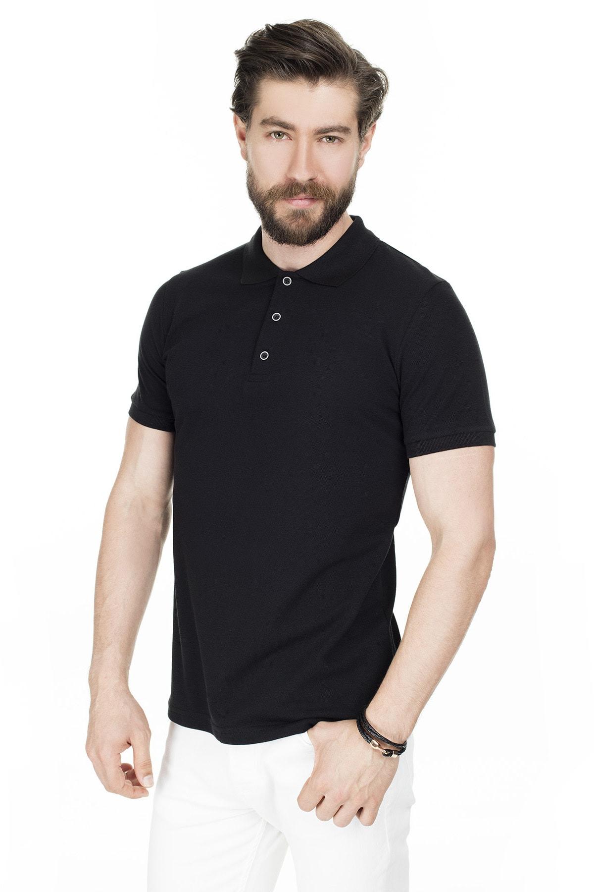 Buratti Erkek Siyah Düğmeli Polo Yaka Pamuklu Günlük T Shirt 4362050 2