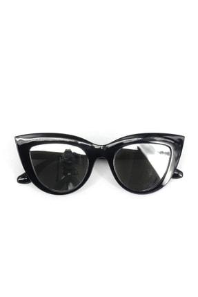 Hane14 Kalın Çerçeveli Tasarım Aynalı Camlı Cat Eye Bayan Güneş Gözlüğü Siyah 4