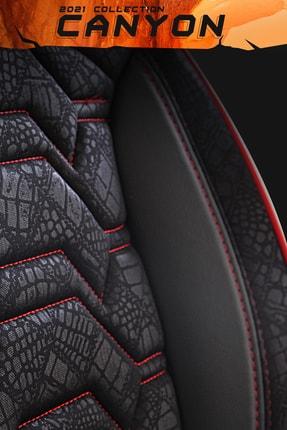 Deluxe Boss Canyon Oto Koltuk Kılıfı - 2021 Collection - Satin Look Kumaş - Kırmızı Nakışlı 4