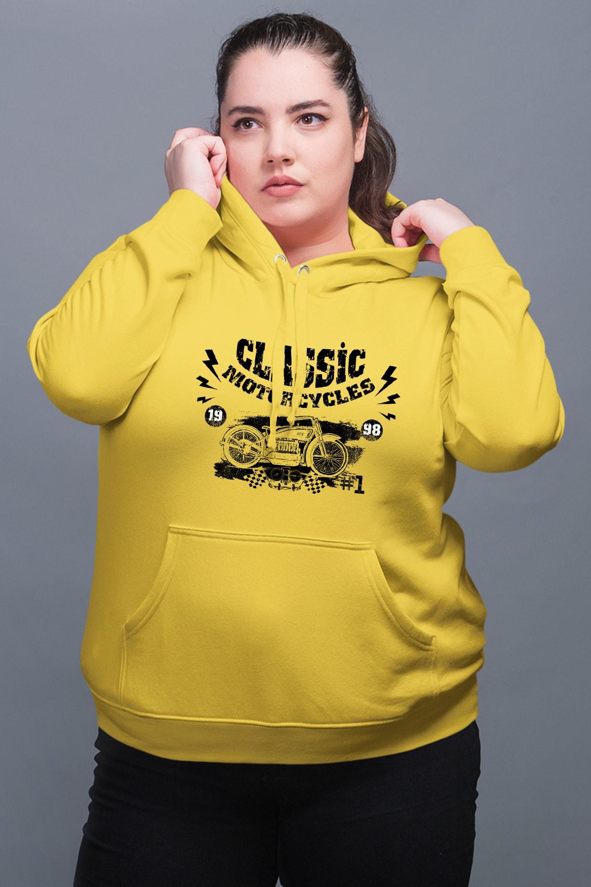 Wear Motorcycles Sarı Kadın Kapüşonlu Sweatshirt
