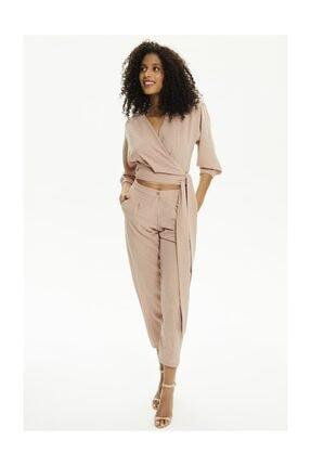Pheri Kadın Karamel Rengi Kruvaze Bluz Ve Pantolon Takım | S802 0