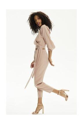 Pheri Kadın Karamel Rengi Kruvaze Bluz Ve Pantolon Takım | S802 1