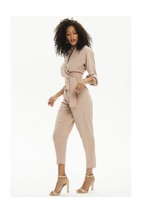 Pheri Kadın Karamel Rengi Kruvaze Bluz Ve Pantolon Takım | S802 2