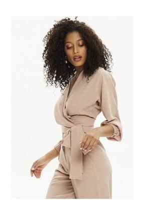 Pheri Kadın Karamel Rengi Kruvaze Bluz Ve Pantolon Takım | S802 3