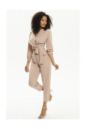 Pheri Kadın Karamel Rengi Kruvaze Bluz Ve Pantolon Takım | S802 4
