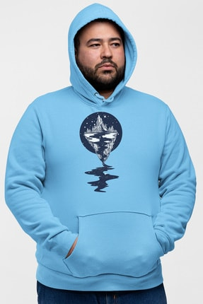 Angemiel Wear Dağ Nehir Motifleri Mavi Erkek Kapüşonlu Sweatshirt 0