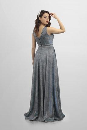 DÜĞÜNÇOKABİYEMYOK Mavi Yansımalı Taş Detaylı Uzun Abiye 1