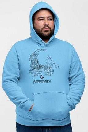 Angemiel Wear Oğlak Burcu Mavi Erkek Kapüşonlu Sweatshirt 0