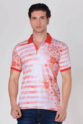 Mozaik Çizgili Baskılı Polo Yaka T-shirt Oranj Dbk131311 resmi