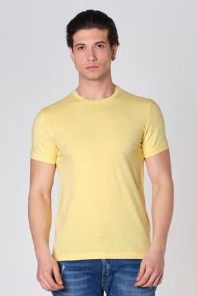 Sıfır Yaka Likralı Pamuk T-shirt Sarı Dbk121291 resmi