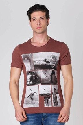 Sıfır Yaka Sörf Baskılı Pamuk T-shirt Kahve Dbk121276 resmi