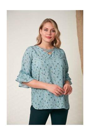 Rmg Kadın Fırfır Detaylı Büyük Beden Çagla Yeşili Bluz 0