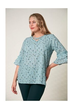 Rmg Kadın Fırfır Detaylı Büyük Beden Çagla Yeşili Bluz 1