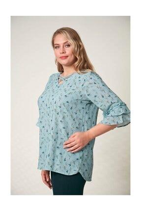 Rmg Kadın Fırfır Detaylı Büyük Beden Çagla Yeşili Bluz 3