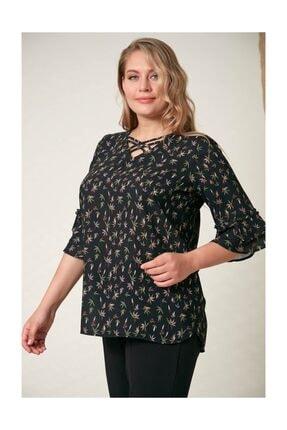 Rmg Kadın Fırfır Detaylı Büyük Beden Siyah Bluz 2
