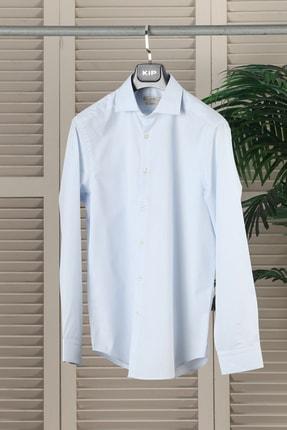 Açık Mavi Dokuma Uzun Kollu Gömlek KP10100149 resmi