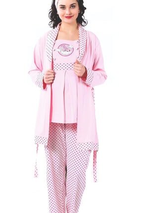 BOYRAZ Hamile Pijama Takımı Emzirmeli Sabahlıklı Kısa Kol 3 Lü Takım 7103 0