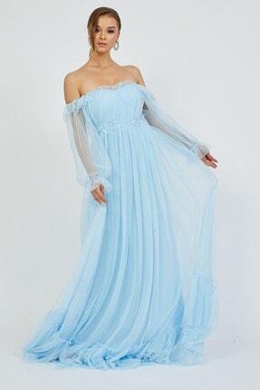 Shine İstanbul Hayal Tül Mavi Elbise 3