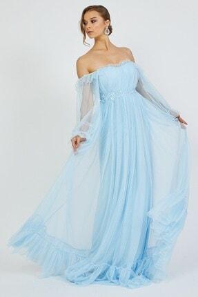 Shine İstanbul Hayal Tül Mavi Elbise 4
