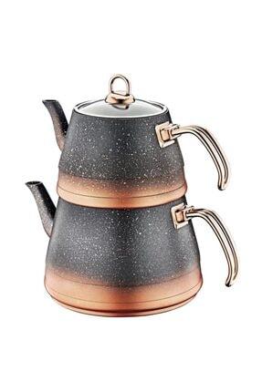 OMS PASLANMAZ Oms 4 Parça Granit Xl Boy Cam Kapaklı Çaydanlık 0